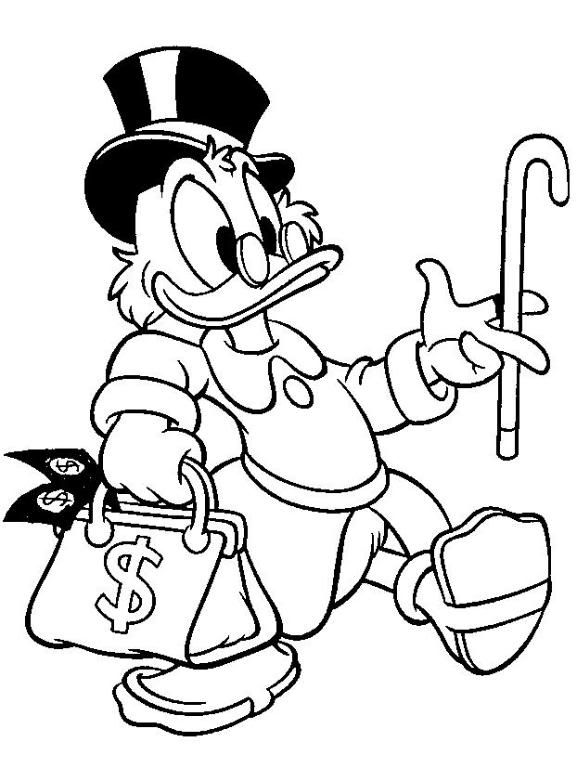 Uncle Scrooge Mc Duck Coloring Page Disney Coloring Pages