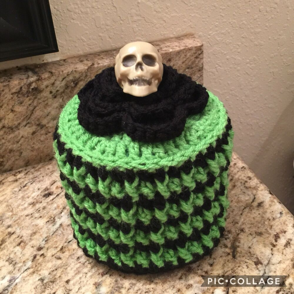 Crochet Halloween Toilet Paper Roll Cover Skeleton Toilet Paper Roll Cover