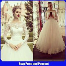 Chegada nova princesa Strapless manga comprida Sheer Lace pavimento comprimento do marfim vestido de noiva 2015 vestido de noiva(China (Mainland))