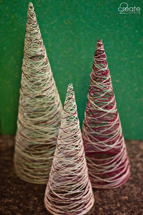 Make Your Own Simple Thread Christmas Trees Cute And Easy Decoration