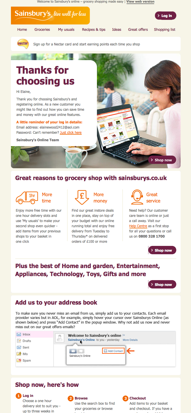 Sainsburys Welcome Email Welcome Emails