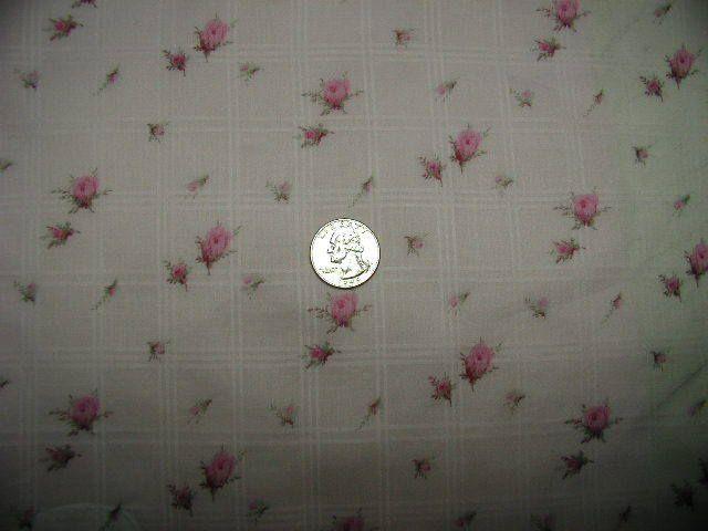 Yuwa Pink Roses on PINK Lawn Windowpane Pattern BTY #YuwaUrbangardens