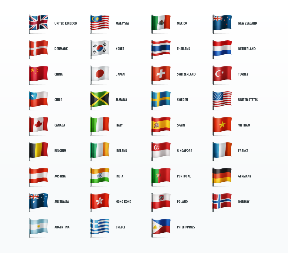 country flags icon set by web icon set on creative market urban