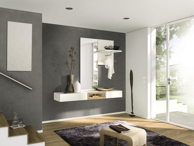 Garderoben Moebel Flur Weiss Spiegel Holz Elemente Modell