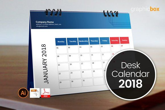 Desk calendar template 2018 by graphicbox on creativemarket
