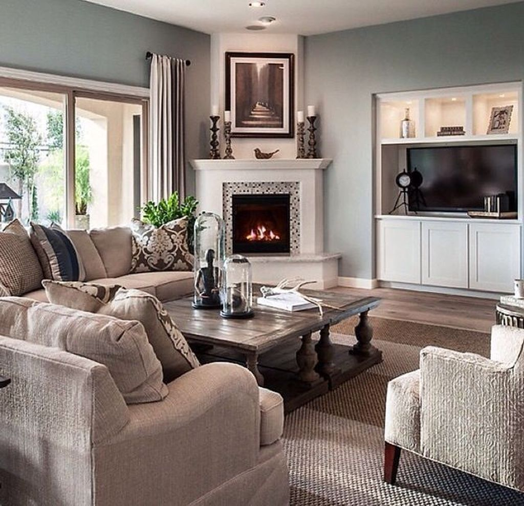 56 Relaxing Small Living Room Decor Ideas With Fireplace ...