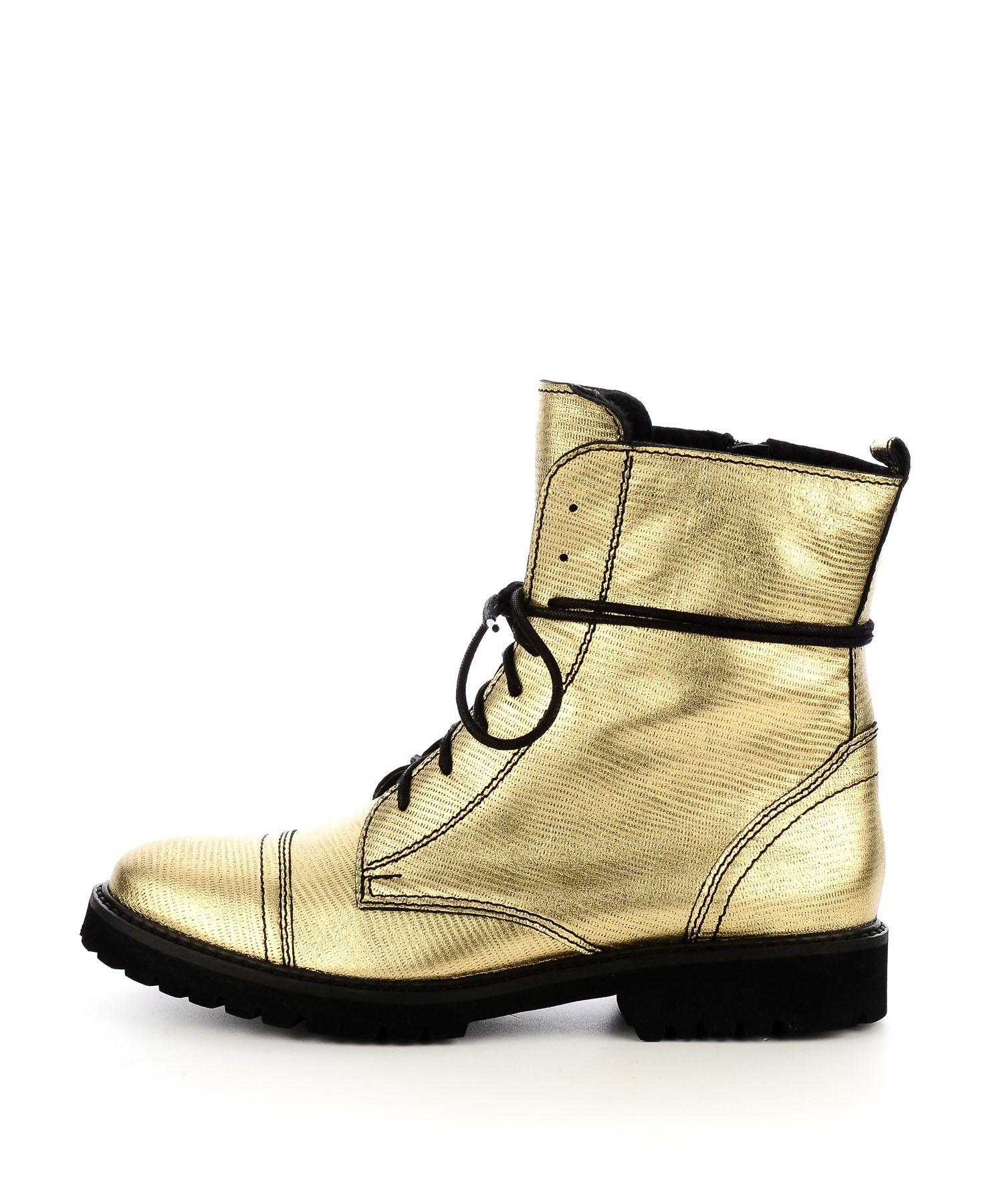 Zlote Sznurowane Botki Za Kostke Botki Kolekcja Damska Combat Boots Boots Shoes