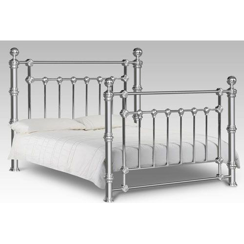 Chrome Queen Metal Bed Frame Hodedah Import Queen Standard Beds