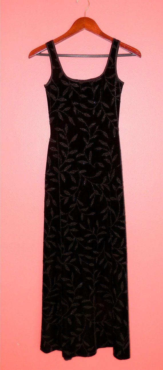 Vintage Dress 90s Velour Velvet Beaded Leaf by PinkCheetahVintage, $28.00