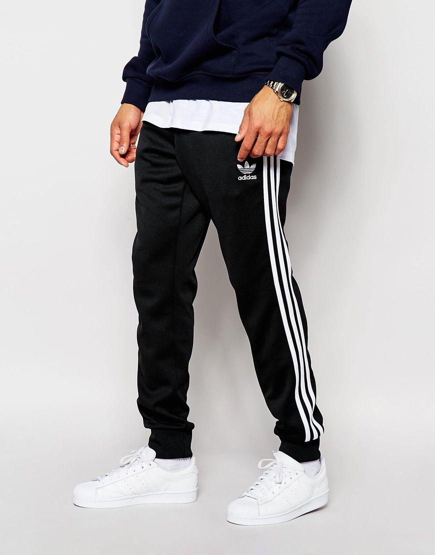 New Adidas Originals Superstar Cuffed Black Trackpants for Men Sale Online