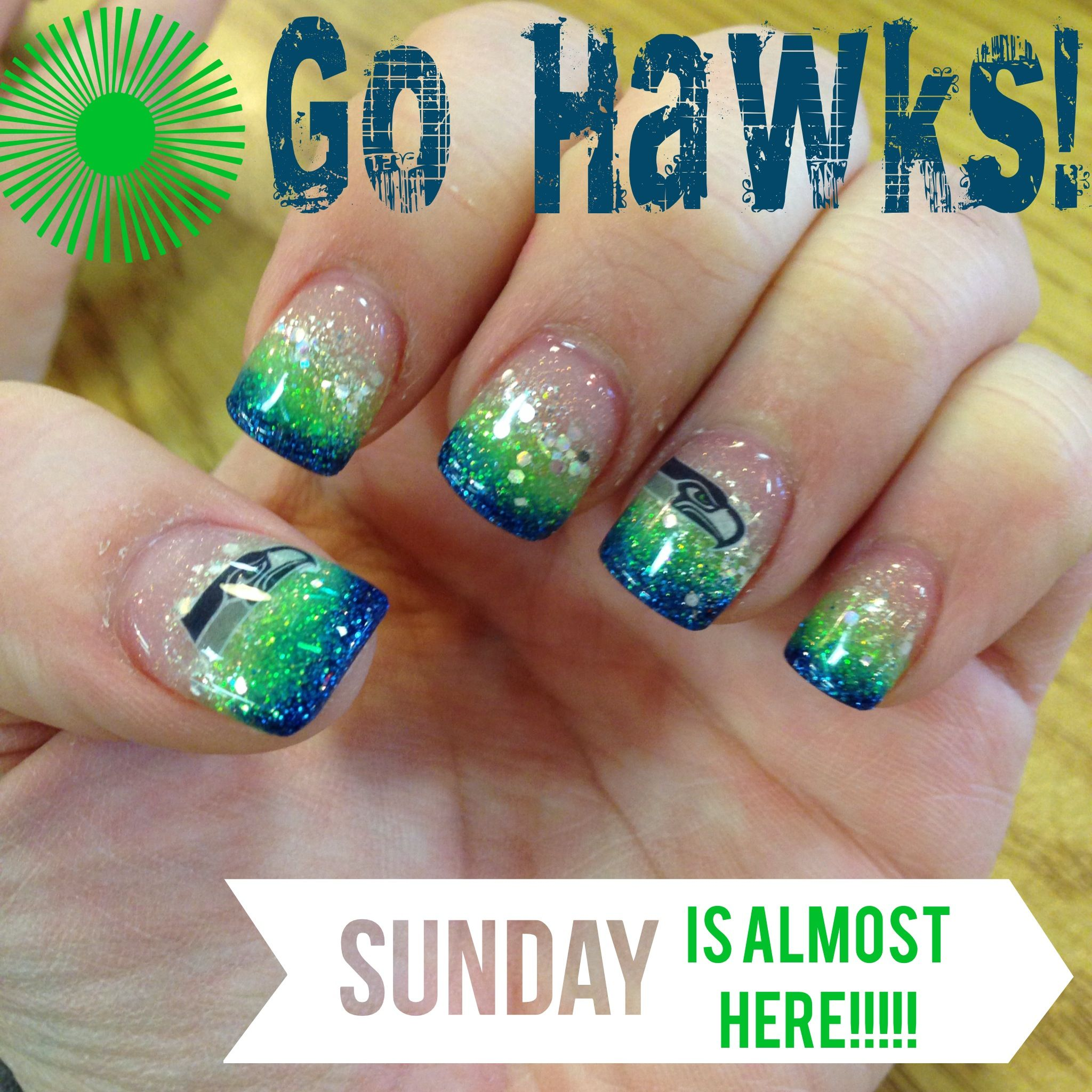 My AWESOME Seahawk Nails by Jonathan\'s Nail Salon and Spa! Go Hawks ...