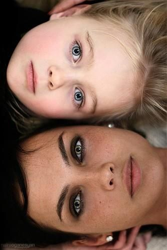 Mother and daughter.  Take a picture just like this every year  see how you both change. What a wonderful idea... <3