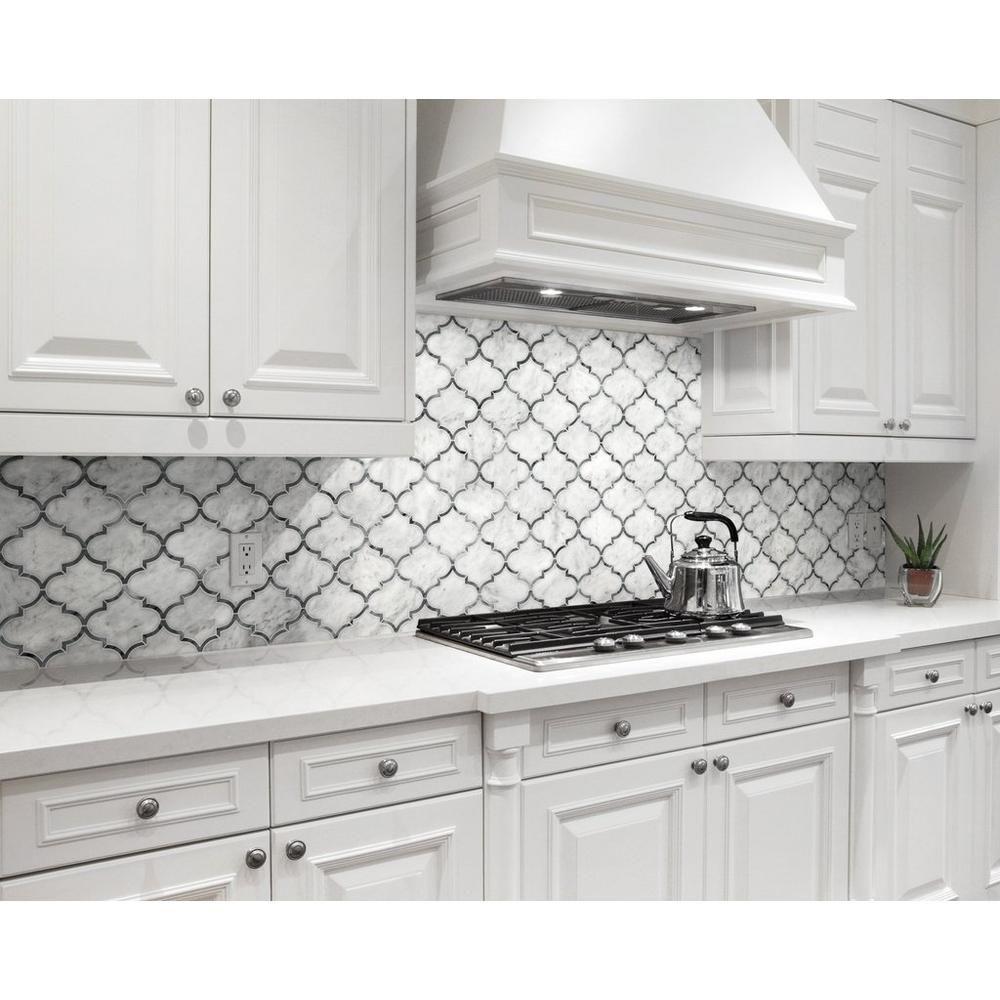 Provence Carrara Marble Mosaic Floor Decor Kitchen Remodel