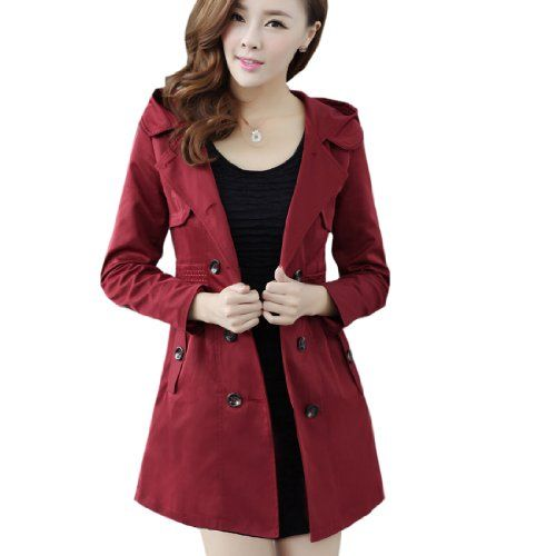 c805fc71444 Fashion Women s Double-Breasted Trench Coat Lady Plus Size Hooded Jacket  Pea Coat
