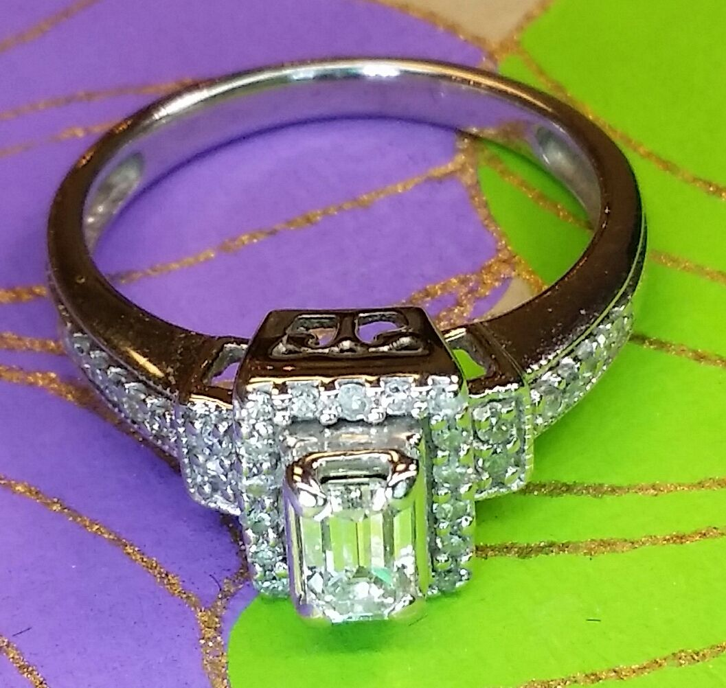 Emerald Cut Halo Diamond Engagement Ring Layaway Ok Text Or Call Me At 404