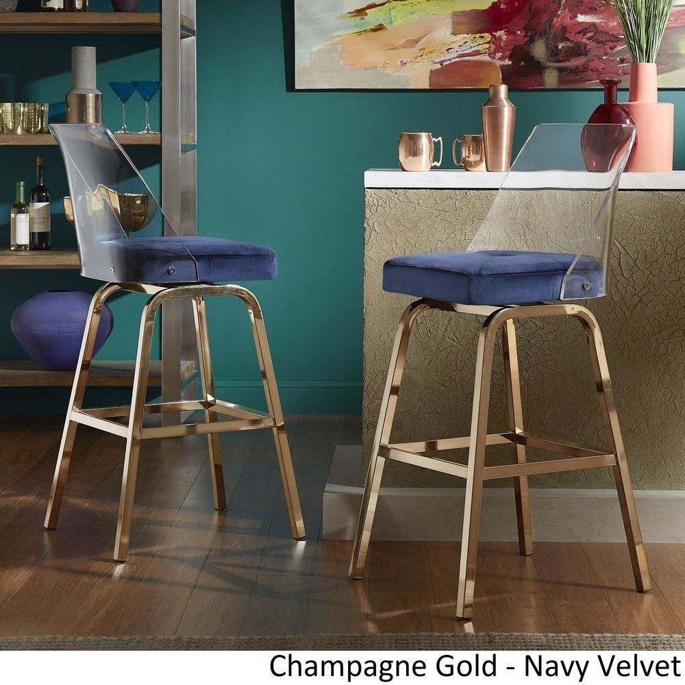 Awe Inspiring Lennox Velvet Bar Height Swivel Stools Set Of 2 By Inspire Gmtry Best Dining Table And Chair Ideas Images Gmtryco