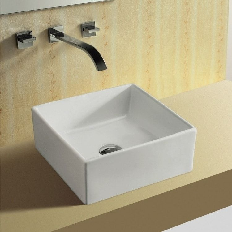 Caracalla By Nameeks Ca4169 No Hole Square White Ceramic Vessel Bathroom Sink 12 17 Inch Rectangular Sink Bathroom Sink Bathroom Sink