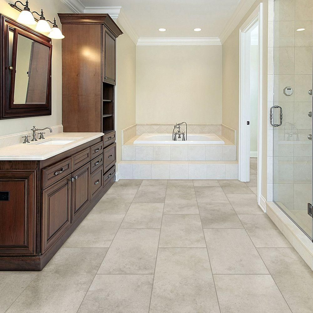 Bathroom floor vinyl tiles - Trafficmaster Allure Pearl Stone Resilient Vinyl Tile Flooring 4 In X 4 In
