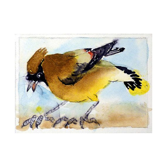 """""""Cedar Waxwing"""" Bird Art Watercolor Painting Print  5"""" x 7"""" by LaBerge, $17.00"""