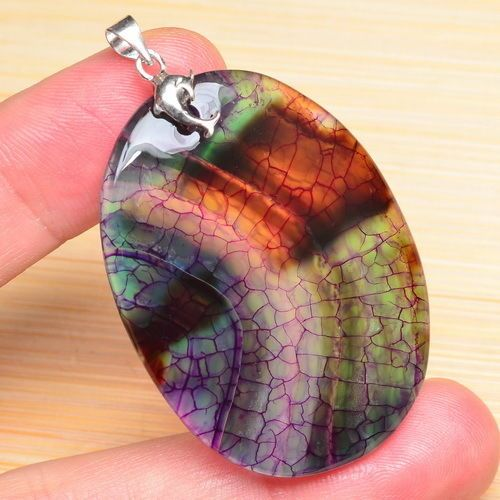 """MULTI COLOR DRAGON VEINS AGATE GEMS 100% SOLID 925 STERLING SILVER 2"""" PENDANT"""
