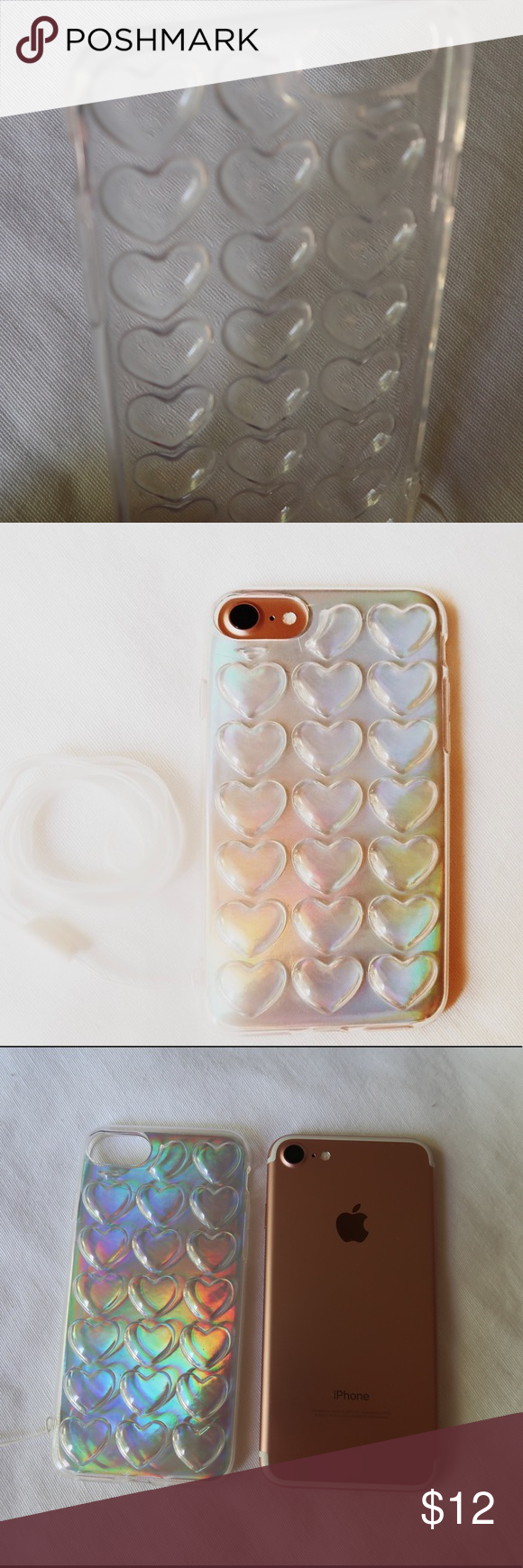 Iphone 7 Unicorn Hologram 3d Heart Case