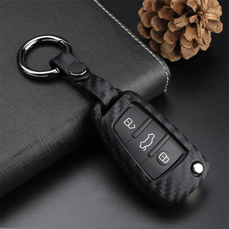 For Chevy Buick Flip Car Key Fob Chain Ring Case Cover Carbon Fiber Accessories