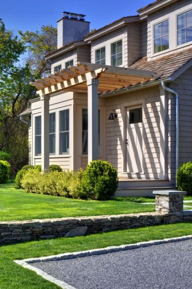 A Coastal Cottage Home Rehab | Front entrances, Pergolas and Porch on curved deck with pergola, wire pergola, front yard pergola, house plans ranch style with pergolas, white cedar pergola, front porch pergola, back porch pergola, house without front door, attached pergola, house with porch front door,