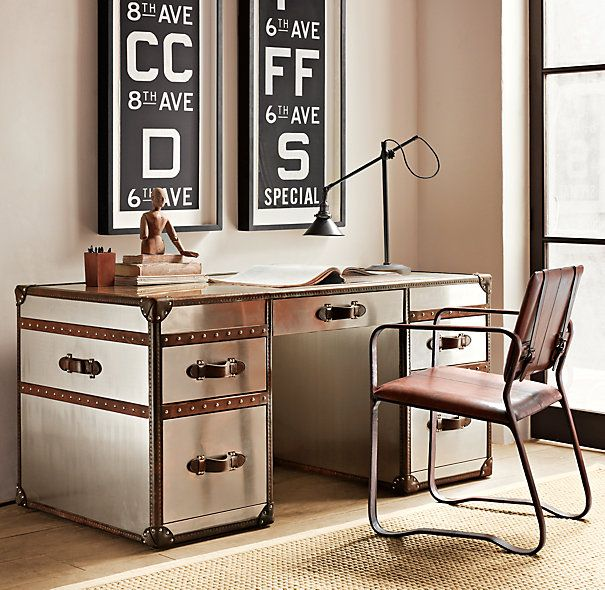 I love the idea of a pair of these under the windows for the boys to do their homework at...wonder if I could fake it with a couple of overhauled file cabinets, some good metal paint, and a few feet of reclaimed wood?