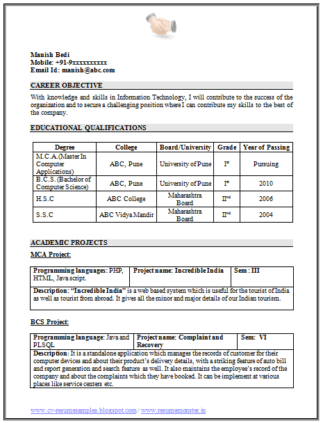 Resume Format For Freshers Sample Template Example Of