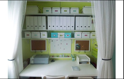 Office in a closet - Green background