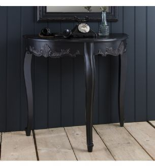 Maison French Painted Black Demi Lune Half Moon Hallway Table