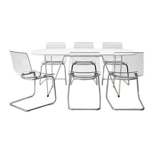OPPEBY BACKARYD TOBIAS Table And 6 Chairs White Chrome Plated