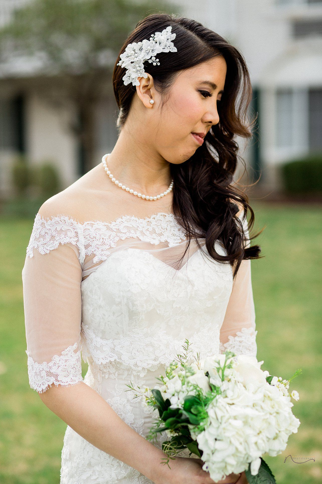 the madison hotel wedding, lace wedding dress, bridal hair ideas