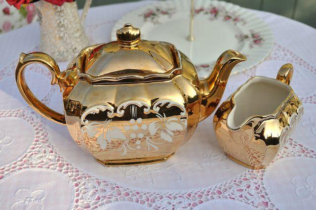 Gold Vintage Sadler Teapot and Jug by cake-stand-heaven, via Flickr