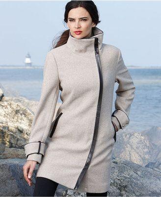 Shopstyle Calvin Klein Pe E Coat Funnel Neck Faux Leather Trim