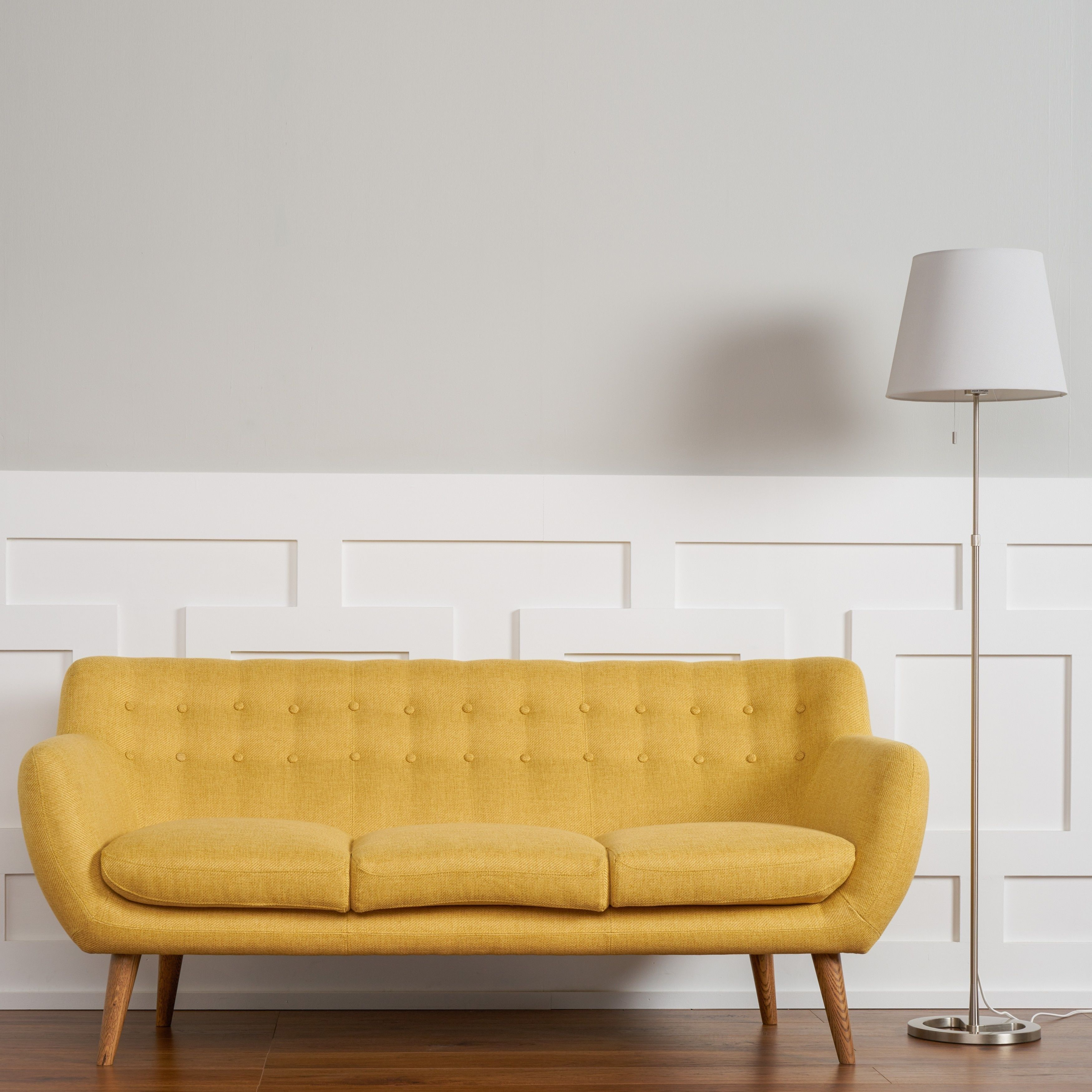 The Curated Room Rhodes Mid Century Modern Tufted Sunset Yellow Sofa