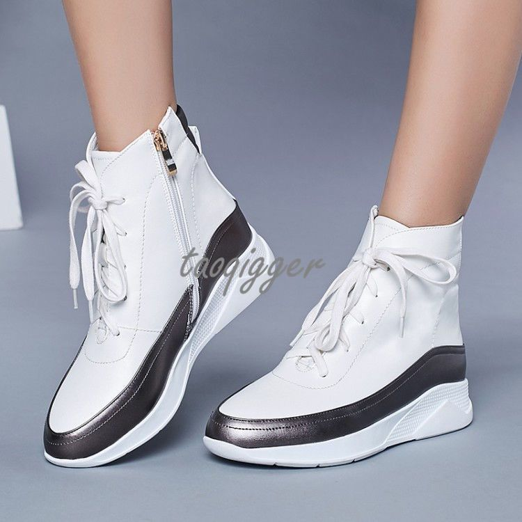 aceb2c754f6dd Womens Fashion Wedge Heel High Top Ankle Boots Lace-Up Sports Shoes Leisure