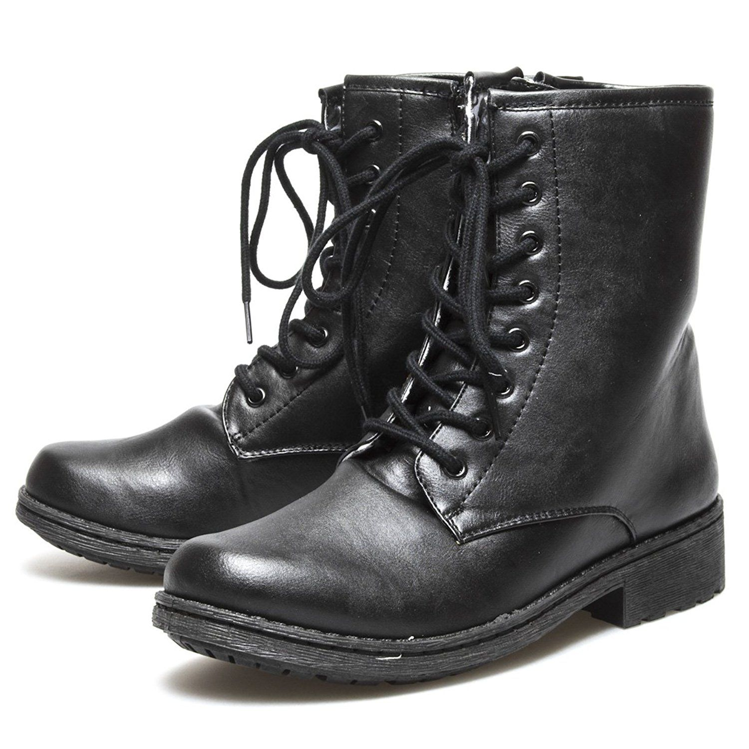 Qupid Womens MISSILE04 Round Toe Military Combat low Heel Ankle Boot => Startling review available here  : Booties