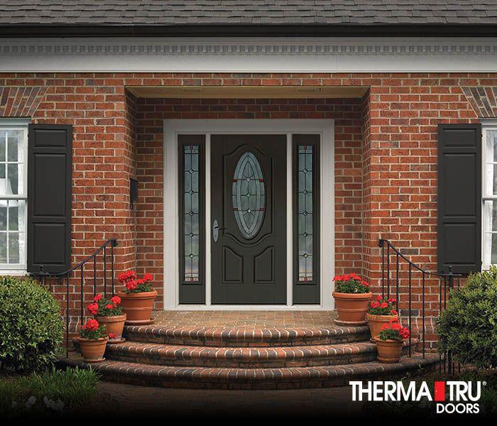 Therma Tru Smooth Star Fiberglass Door Painted Laurel Woods With Arden  Decorative Glass.