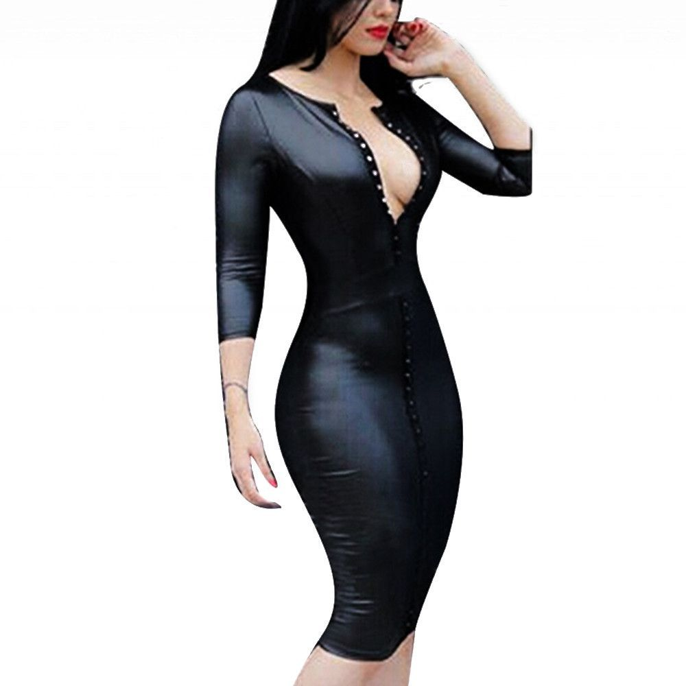 89faca1b346 Deep V neck shows sexy breast curve skinny leather dress can best draw your  body line rivet fake zipper is handsome. Features  Deep V neck Skinny  leather ...