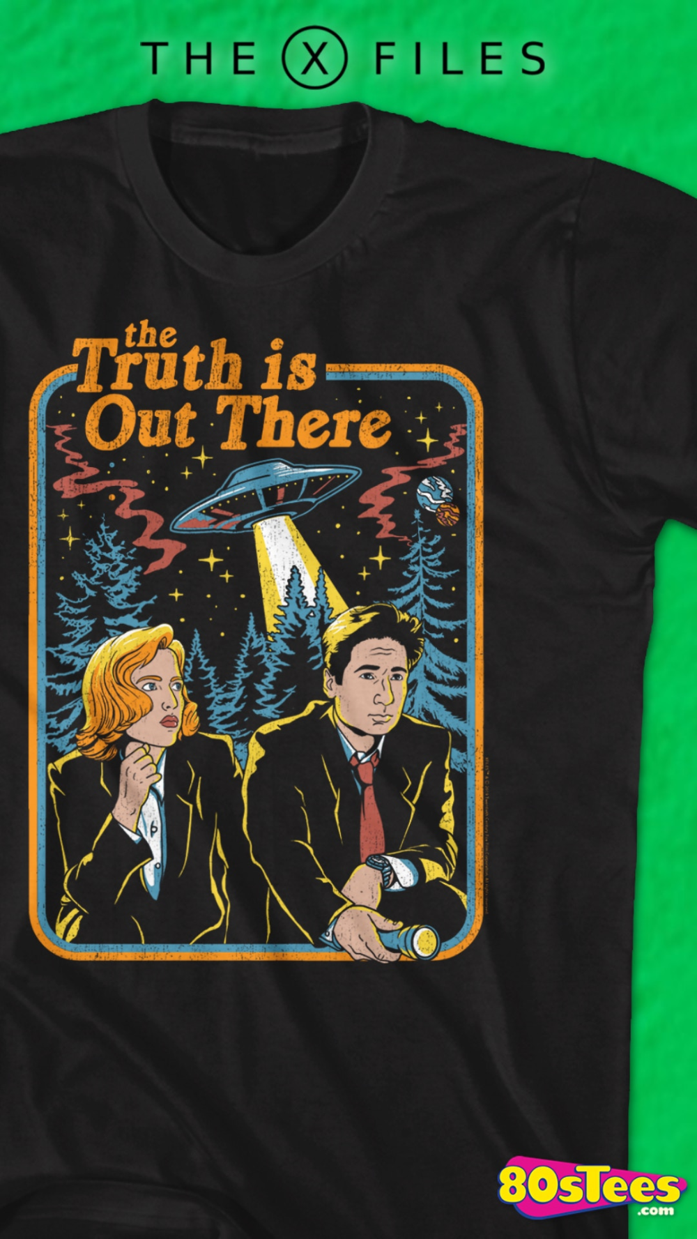 The X Files Truth is Out There Vintage Poster Men/'s T Shirt Chris Carter Aliens