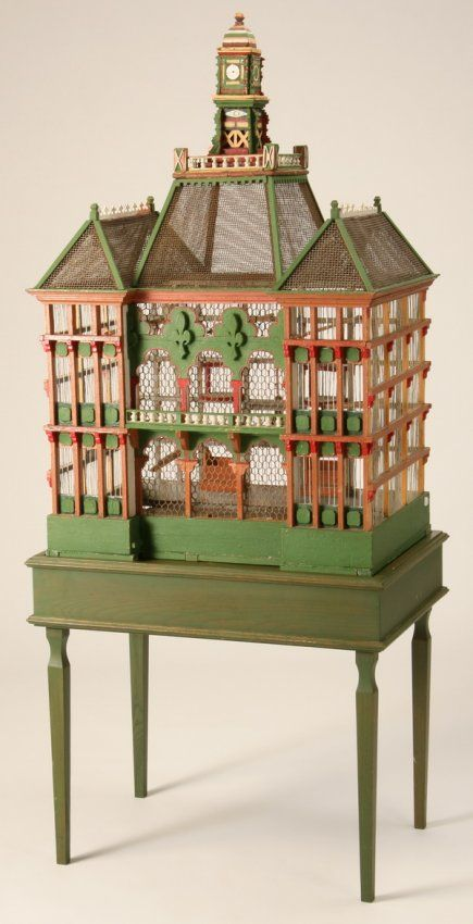 Early 20th century French polychrome decorated wood birdcage on