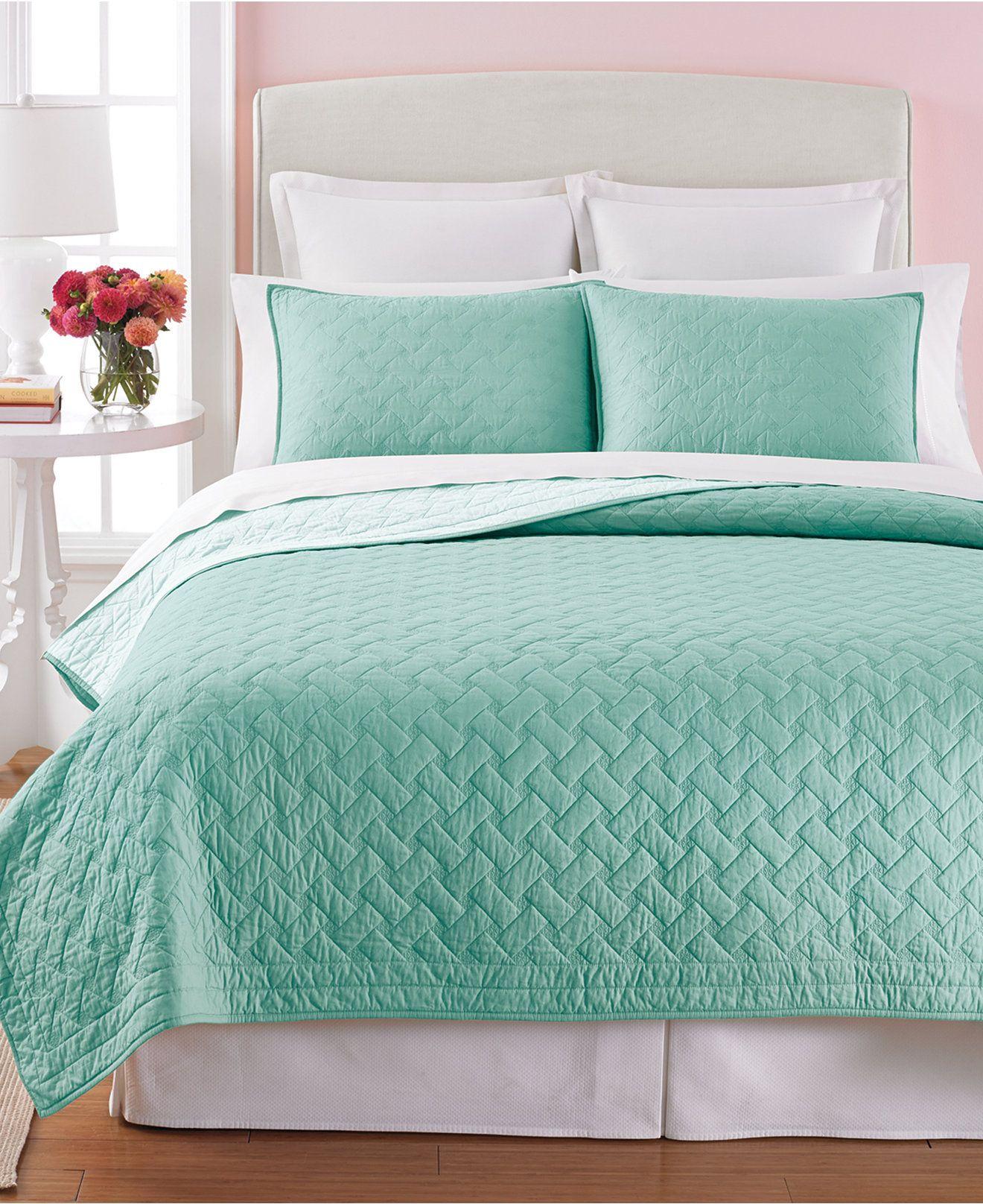 Martha Stewart Collection Basket Stitch Full/Queen Quilt (Aqua ... : macys bedding quilts - Adamdwight.com