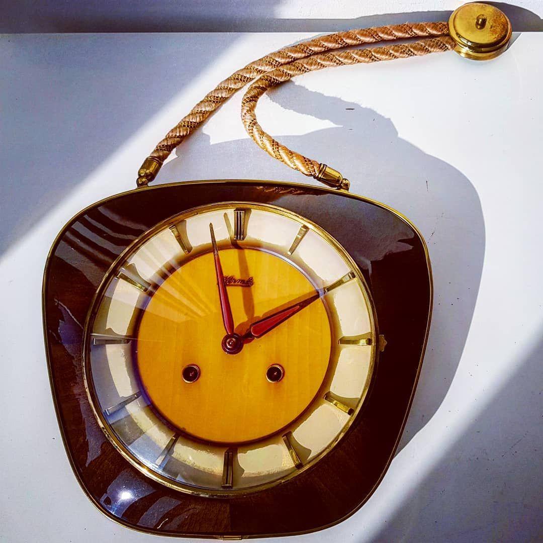 Mechanical Hermle German Wall Clock Mechanical Hermle German Germany Wood Brown Metal Brass Wall R Wall Clock Mid Century Modern Clocks Modern Clock