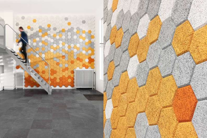 These Brilliant Acoustic Hexagon Wall Tiles Created By