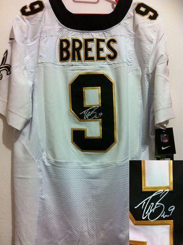 Nike Saints  9 Drew Brees Signed White Mens NFL Elite Jersey And  Broncos  Emmanuel Sanders 10 jersey edcd1bbfb