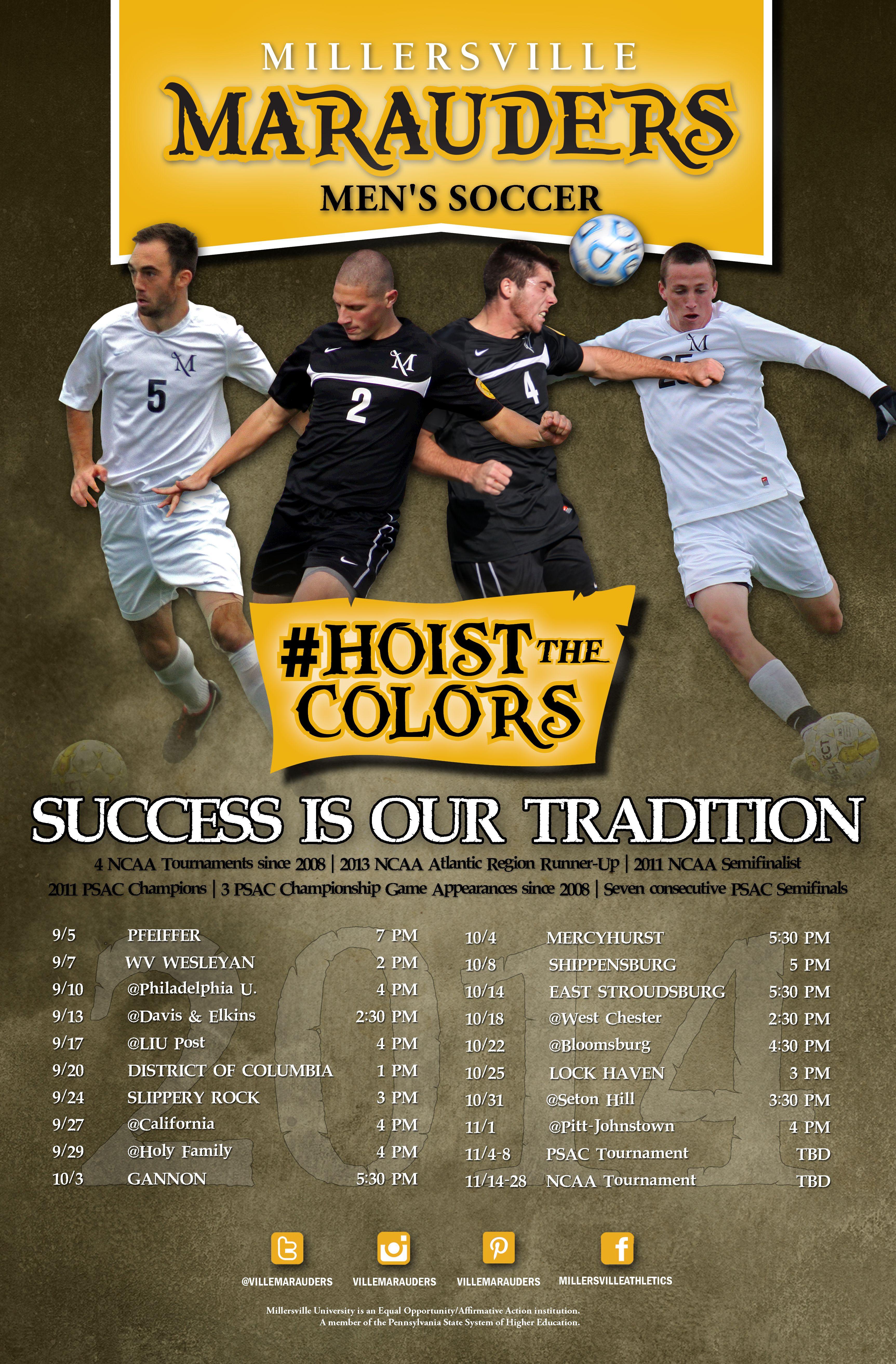 2014 Millersville Men S Soccer Schedule Poster Hoistthecolors Soccer Schedule Mens Soccer Senior Night