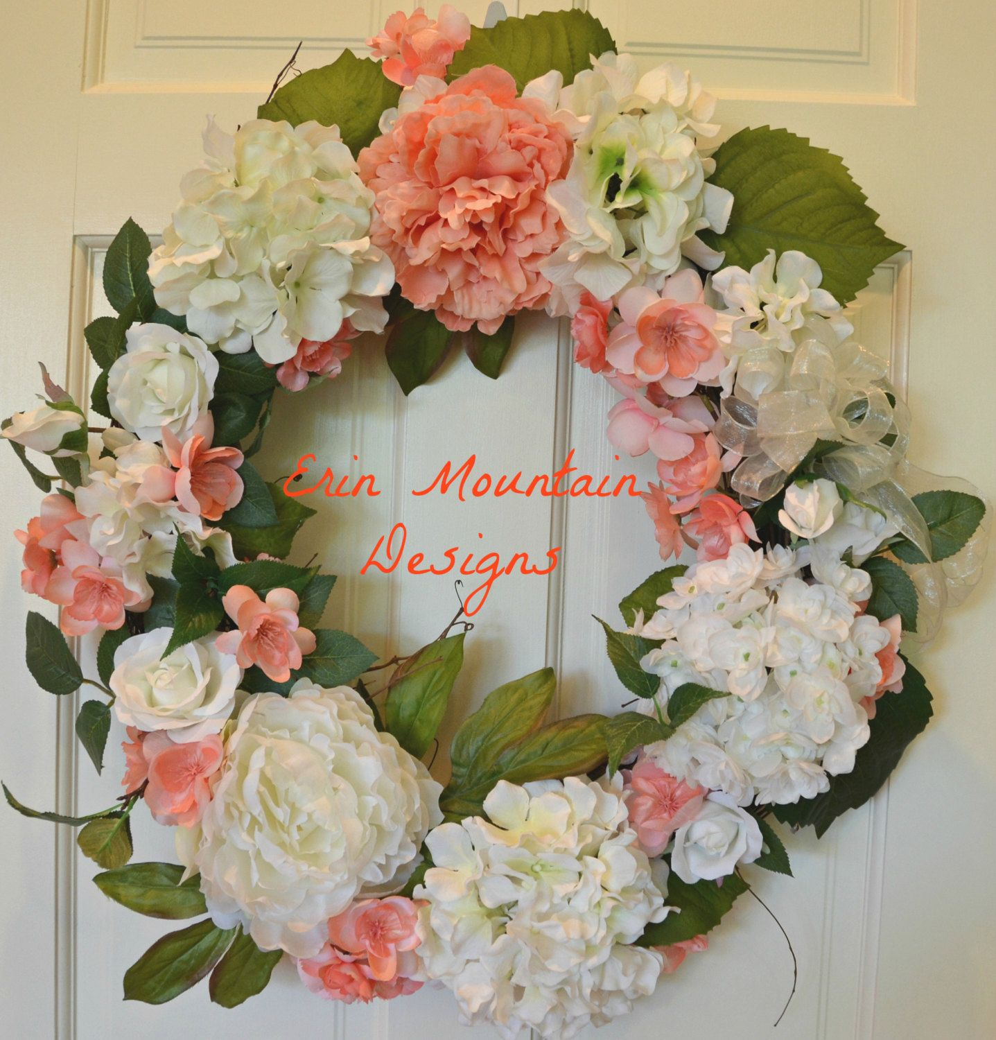 Large Summer Wreath, Unique Wedding Gift, Bridal Shower Gift, Outdoor and Indoor Wreath, Wreath for the Front Door - pinned by pin4etsy.com