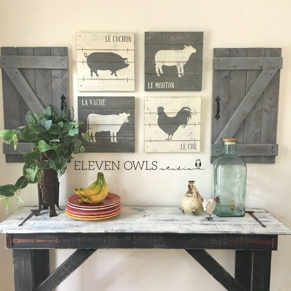 12 Ideas To Have The Best Rustic Gallery Wall: FARMHOUSE ANIMAL DECOR, 4 Pcs Set, Modern Farmhouse Wall