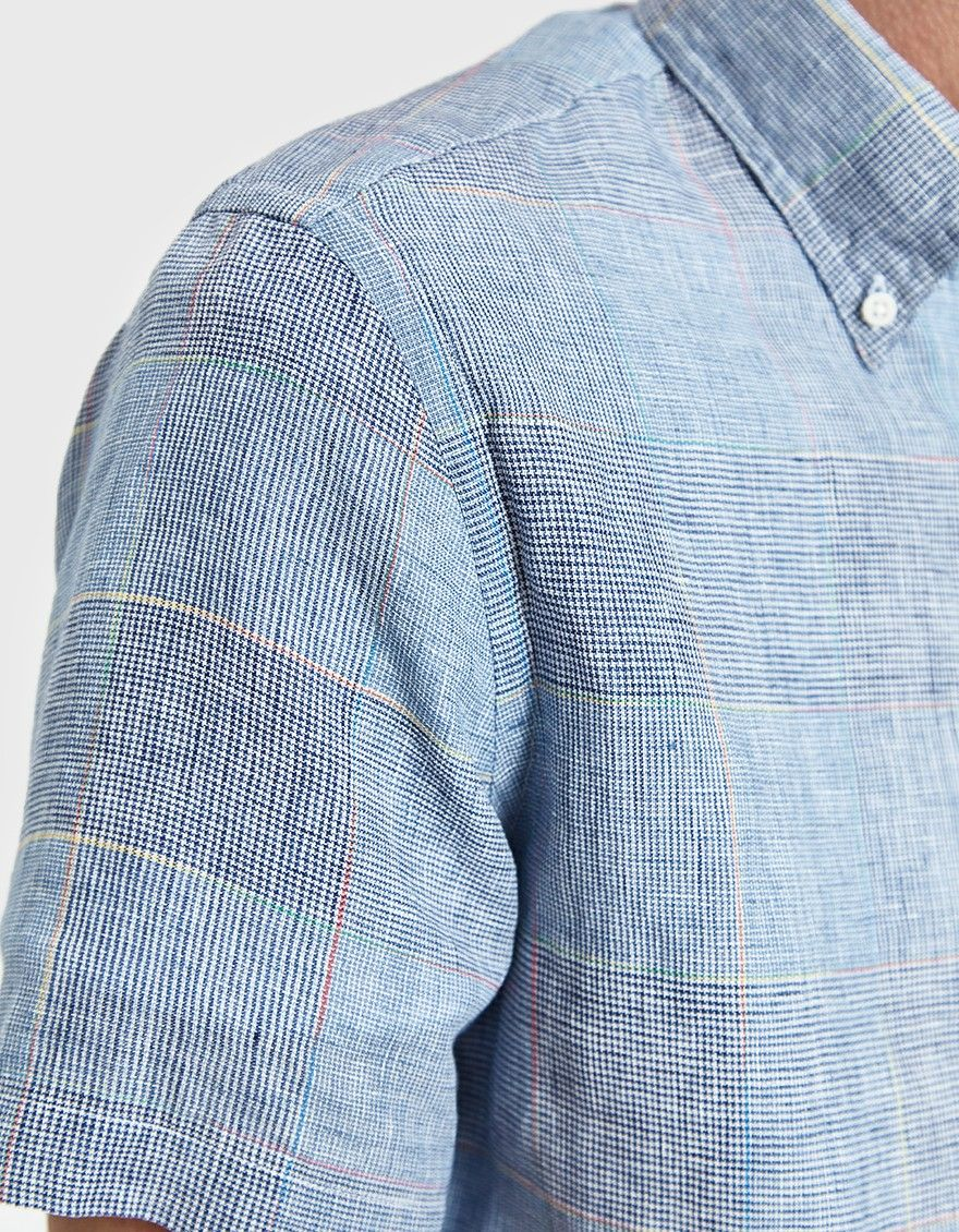9cd6e479 Button down shirt from Gitman Brothers Vintage in Blue Linen. Button down  collar. Front button placket. Chest pocket. Straight back yoke with center  pleat ...